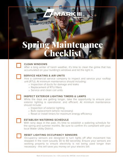 Check list with described tasks for up keeping your commercial building and HVAC unit