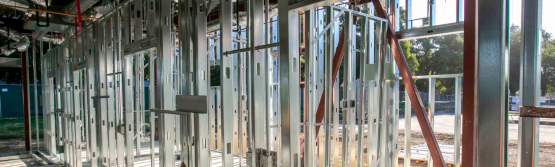 Installed metal-stud framing at a Medial Office Building