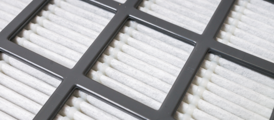 Close up view of a air filter.